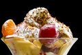 Ice cream and fruits in glass bowl Royalty Free Stock Image
