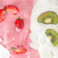 Ice cream with fruits strawberry and kiwi Stock Image