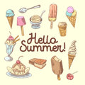 Ice Cream Hand Drawn Design with Fruits and Chocolate, Cones and Waffles. Hello Summer