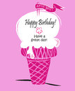 Ice cream happy birhtday have a great day pink greeting card Stock Photo