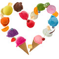 Ice cream heart over white background Stock Photos