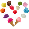 Ice cream heart over white background Royalty Free Stock Photography