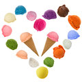 Ice cream heart over white background Royalty Free Stock Photos