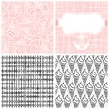 Ice cream in horns monochrome pattern set dessert white pink and gray graphic sweet seamless Royalty Free Stock Photography