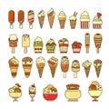 Ice cream icon. Set of cute various desserts icons.