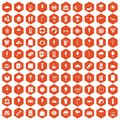 100 ice cream icons hexagon orange