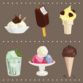 Ice Cream Icons' Set Stock Photo