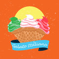Ice cream illustration an with the colours of italy set with a vintage feel to it using textures Royalty Free Stock Image