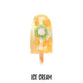 Ice cream illustration. Hand drawn watercolor on white background.