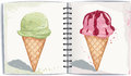Ice cream illustration of two waffle cones with in watercolor technique Royalty Free Stock Photos