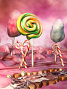 Ice cream landscape fantasy scenery with lollipops chocolates and sugar canes Stock Photos