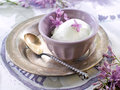 Ice cream lemon and lavender in vintage bowl selective focus Royalty Free Stock Photography