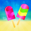 Ice cream lollies background two color on the abstract summer with rays Stock Photos