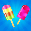 Ice cream lollies background two color on the blue phone with rays Stock Photos