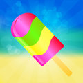 Ice cream lolly background multicolor on the abstract summer with rays Stock Images