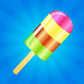 Ice cream lolly background multicolor on the blue phone with rays Royalty Free Stock Photo
