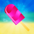 Ice cream lolly background pink on the abstract summer with rays Royalty Free Stock Images