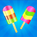 Ice cream lolly background two color lollies on the blue phone with rays Royalty Free Stock Photos