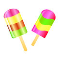 Ice cream lolly background two color lollies isolated on the white phone Stock Image
