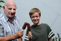 Ice cream lolly me and grandfather with Stock Images