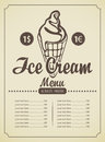 Ice cream menu price list for in a retro style Royalty Free Stock Photo