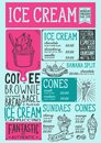Ice cream menu restaurant, dessert food template.
