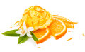 Ice cream with orange flover and zest decorated blossom on white background Royalty Free Stock Photo