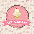 Ice cream over pastry icons background vector illustration Royalty Free Stock Images