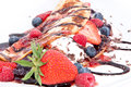 Ice Cream in Pan Cake with fruits Stock Image