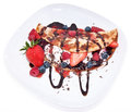 Ice Cream in Pan Cake with fruits Stock Photography