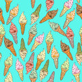 Ice cream pattern seamless hand drawn doodles over a blue background Royalty Free Stock Photography