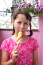 Ice cream on a photo children eating Royalty Free Stock Image