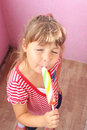 Ice cream on a photo children eating Royalty Free Stock Photography