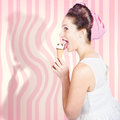Ice cream pin-up poster girl licking waffle cone Royalty Free Stock Photo
