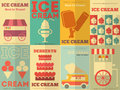 Ice cream posters retro collection in flat design style illustration Royalty Free Stock Photo
