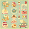 Ice cream retro labels dessert vintage in style set of design elements illustration Royalty Free Stock Photography