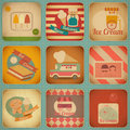Ice cream retro labels dessert vintage in style set of square design elements illustration Royalty Free Stock Photography