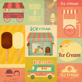 Ice cream retro menu card dessert vintage in style set of design elements illustration Royalty Free Stock Photo