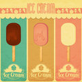 Ice cream retro menu dessert vintage card in style three flavors of illustration Stock Images