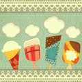 Ice cream retro price Royalty Free Stock Photography