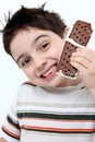 Ice Cream Sandwich Boy Stock Photos