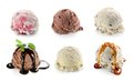 Ice cream scoops collage with vanilla chocolate and blueberry ice cream mint sauce topping Stock Image