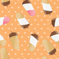 Ice cream seamless pattern, colorful summer background, delicious sweet treats Royalty Free Stock Photo