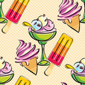 Ice cream seamless vector background with imades Royalty Free Stock Photo
