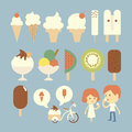 Ice cream set and boy girl Stock Image