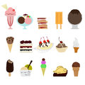 Ice cream set collection of sweet Royalty Free Stock Photos