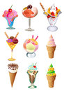 Ice cream set of colorful illustrations Royalty Free Stock Photos
