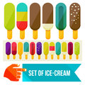 Ice cream set of flat vector illustration Stock Images