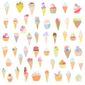 Ice cream set funny design hand drawn paintings Stock Photos