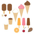 Ice cream set isolated objects on white background vector illustration eps Stock Photo